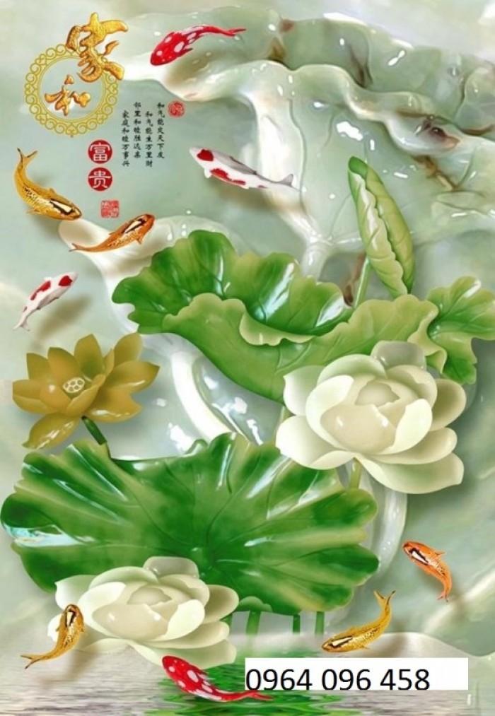 Tranh hoa sen 3d - gạch tranh 3d6