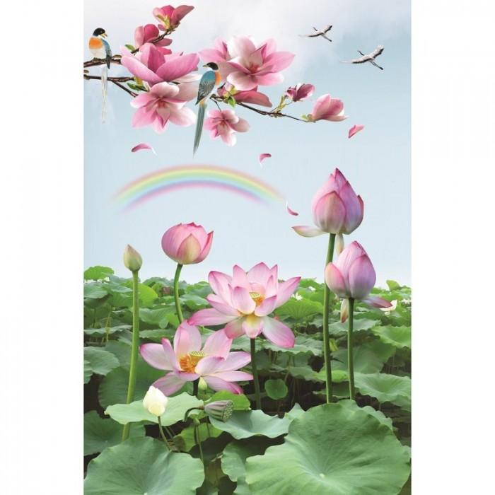 Tranh hoa sen 3d - gạch tranh 3d5
