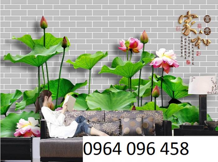 Tranh hoa sen 3d - gạch tranh 3d7