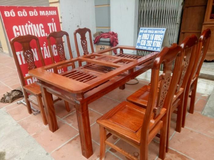 Bộ bàn ghế phòng ăn chữ nhật - gỗ xoan đào9