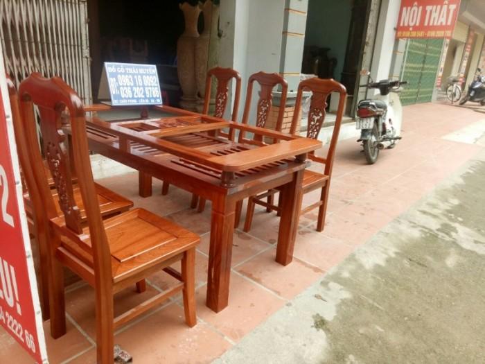 Bộ bàn ghế phòng ăn chữ nhật - gỗ xoan đào8