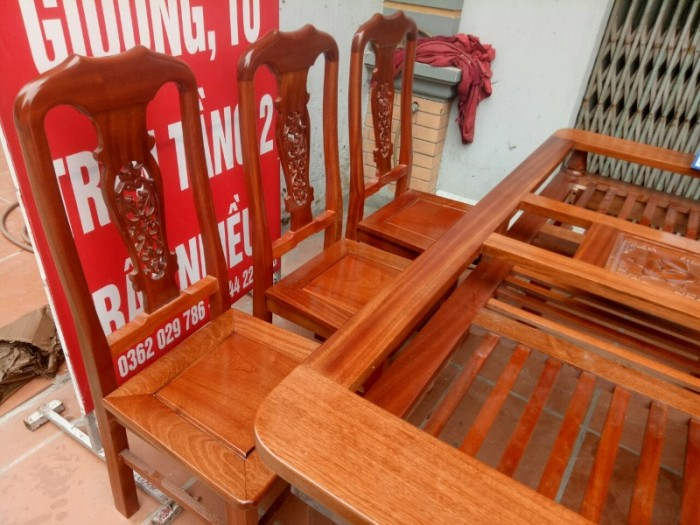 Bộ bàn ghế phòng ăn chữ nhật - gỗ xoan đào11
