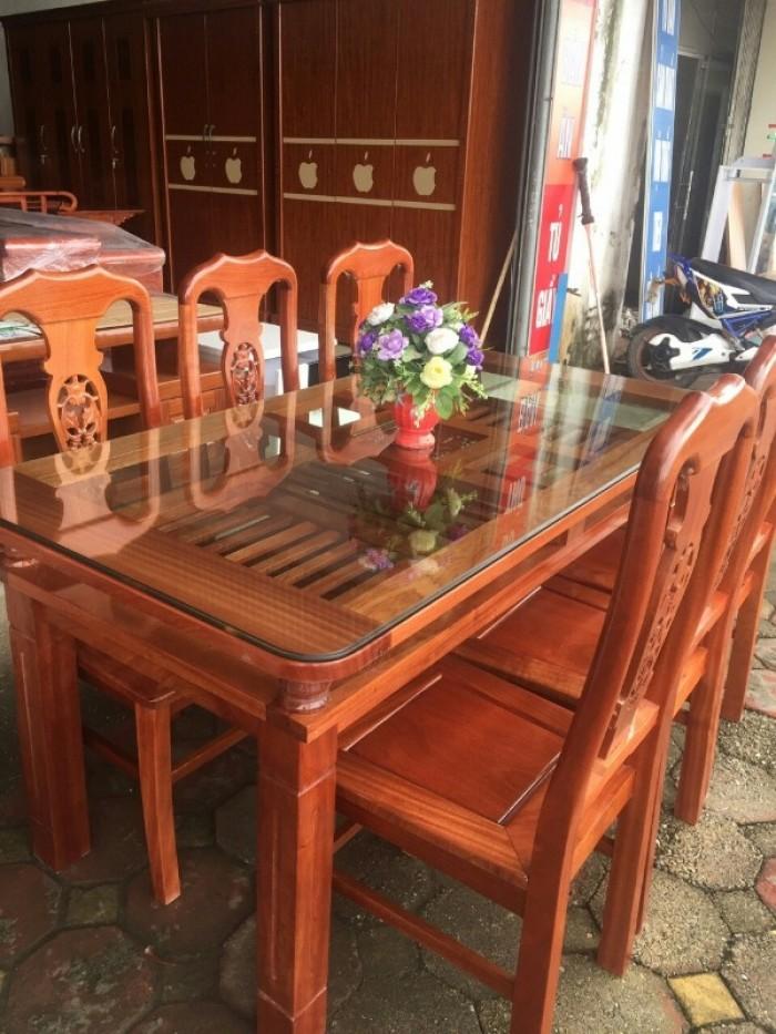 Bộ bàn ghế phòng ăn chữ nhật - gỗ xoan đào13