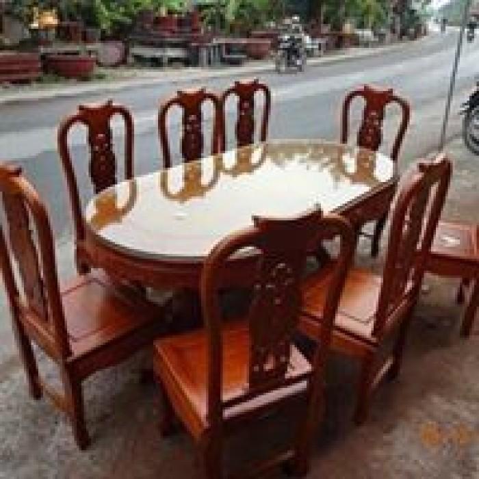 Bộ bàn ghế phòng ăn gỗ gõ đỏ mẫu đơn giản0