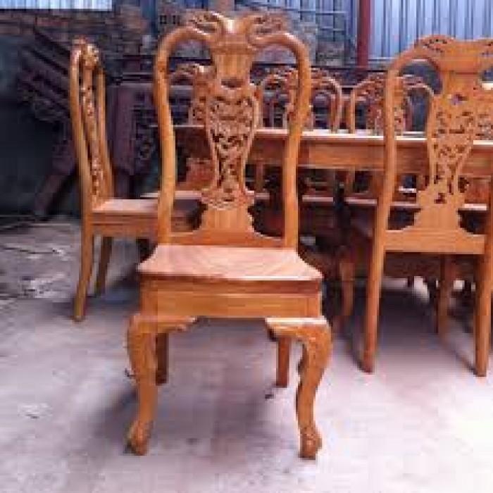 Bộ bàn ghế phòng ăn gỗ gõ đỏ mẫu đơn giản1