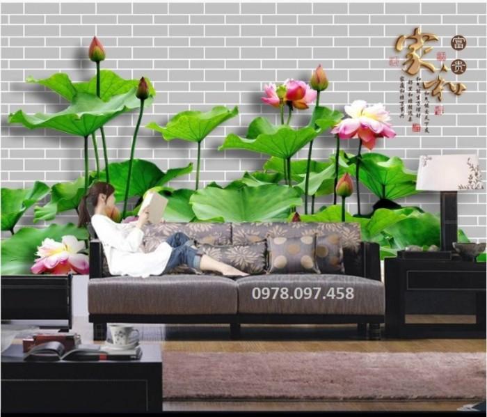 Tranh hoa sen - tranh gạch men 3D