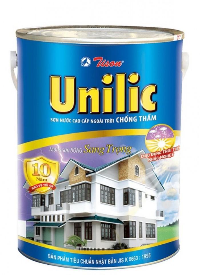 Sơn nước ngoại thất Tison Unilic màu trắng lon 5 lít giá rẻ0