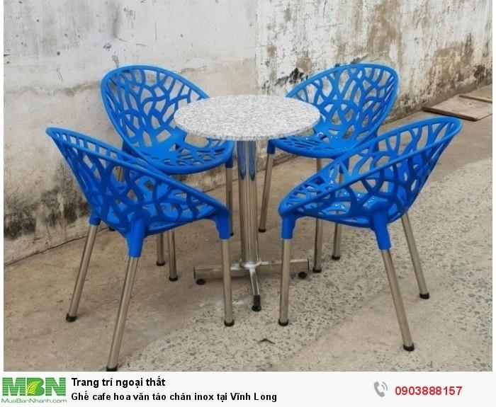 Bàn ghế cafe nhựa táo hoa văn AK122