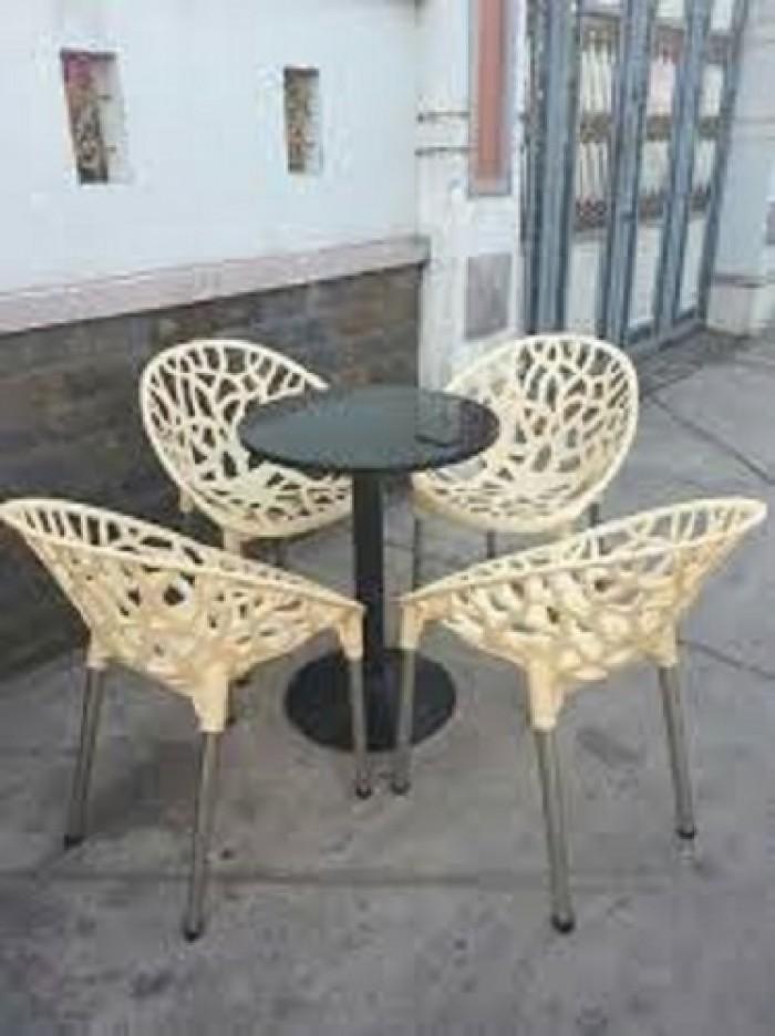 Bàn ghế cafe nhựa táo hoa văn AK123