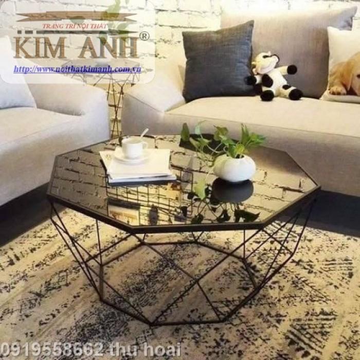 Bàn trà kính hiện đại giá rẻ, bàn sofa bàn trà chân sắt mặt kính kim cương7