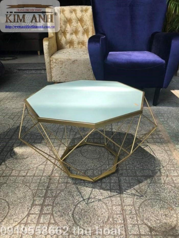 Bàn trà kính hiện đại giá rẻ, bàn sofa bàn trà chân sắt mặt kính kim cương18