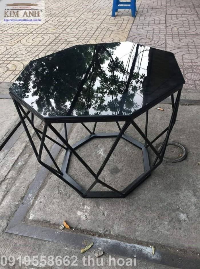 Bàn trà kính hiện đại giá rẻ, bàn sofa bàn trà chân sắt mặt kính kim cương23