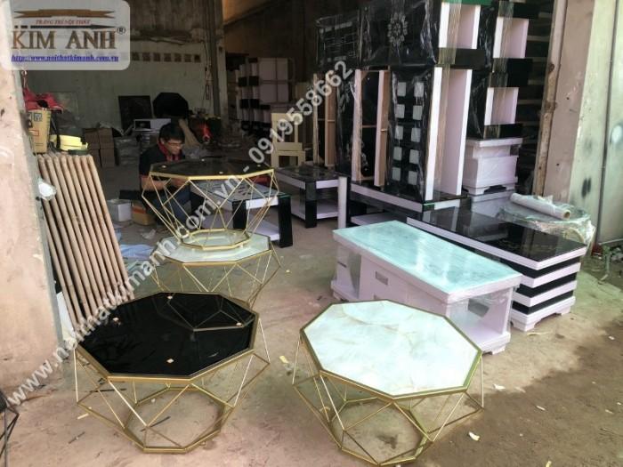 Bàn trà kính hiện đại giá rẻ, bàn sofa bàn trà chân sắt mặt kính kim cương14