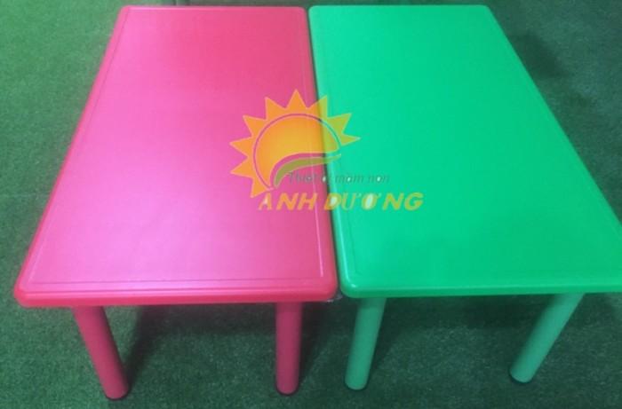 Cung cấp bàn nhựa hình chữ nhật cao cấp, chắc chắn cho trường lớp mầm non3