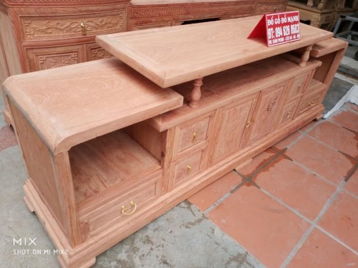 Kệ tivi kiểu trơn gỗ hương đá