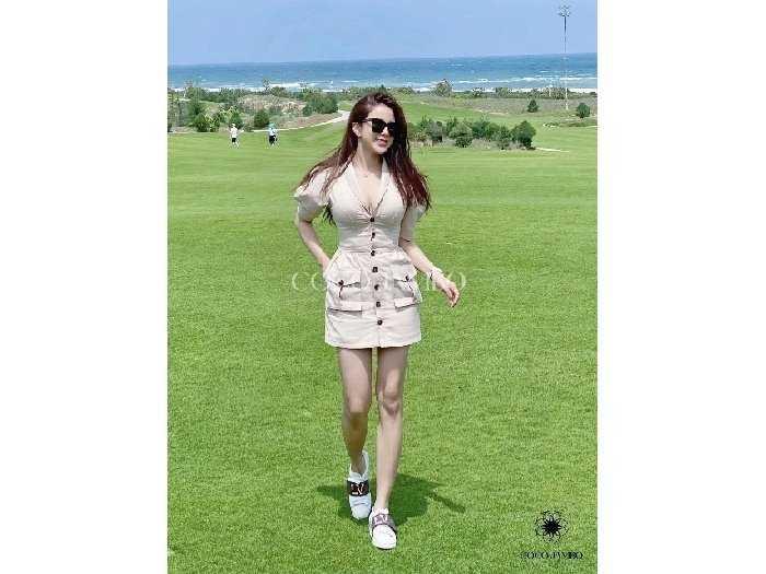 Đầm váy nữ vest nút tay phồng 2 túi0