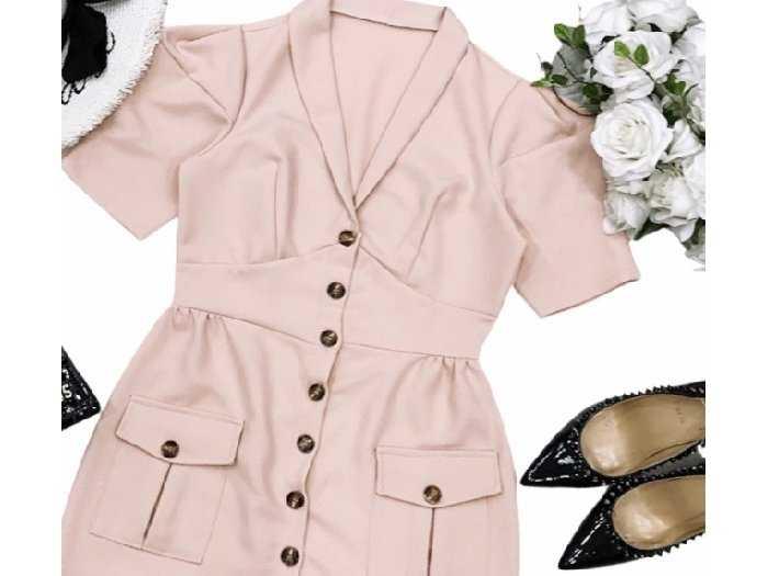 Đầm váy nữ vest nút tay phồng 2 túi3