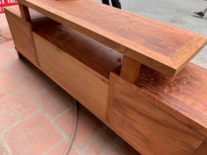 Kệ tivi bông sần gỗ hương đỏ