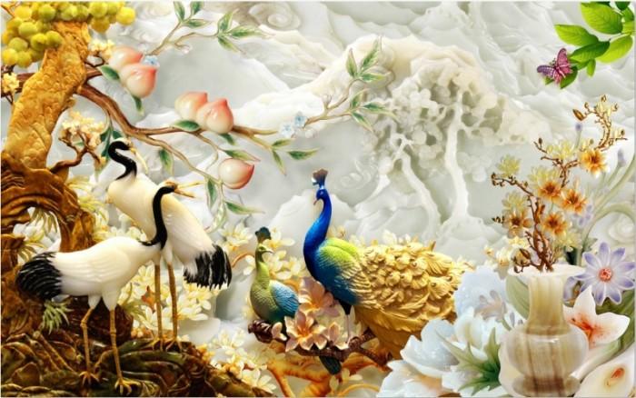 Tranh 3d chim công
