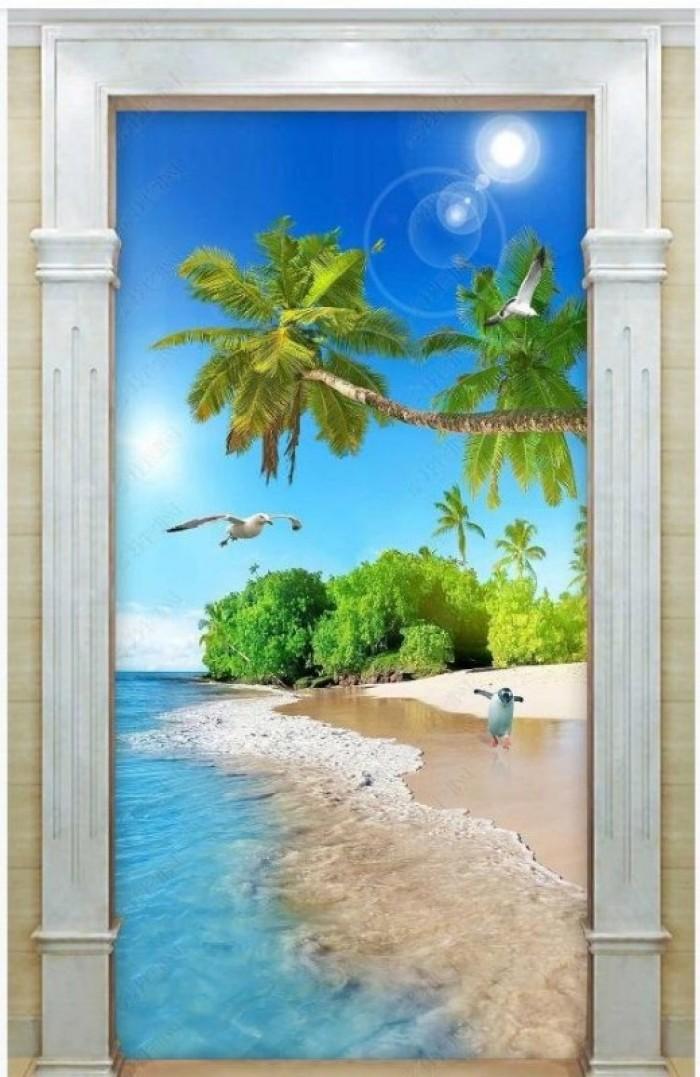 Tranh bãi biển- gạch tranh 3D1