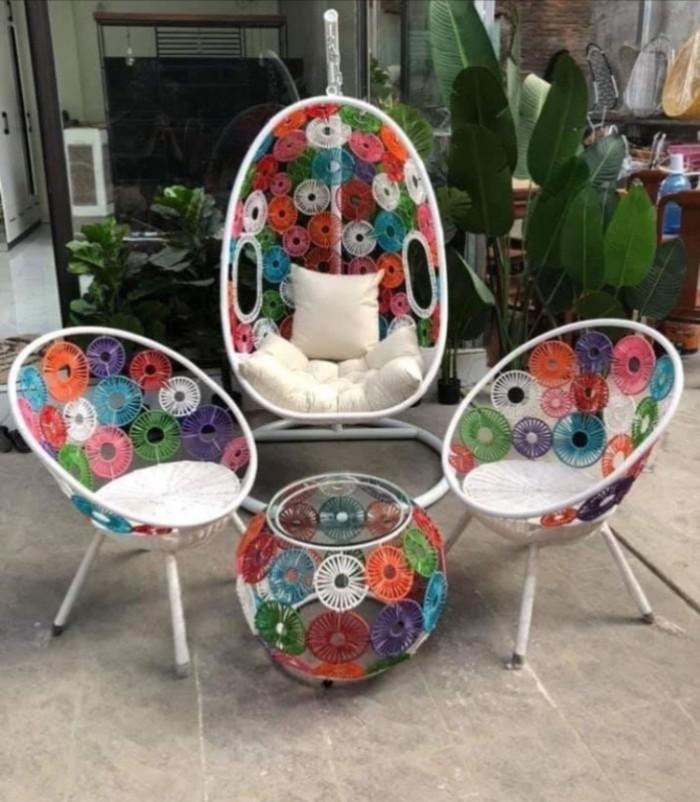 Combo xích đu và bàn ghế cùng màu mẫu giá tại nơi sản xuất1