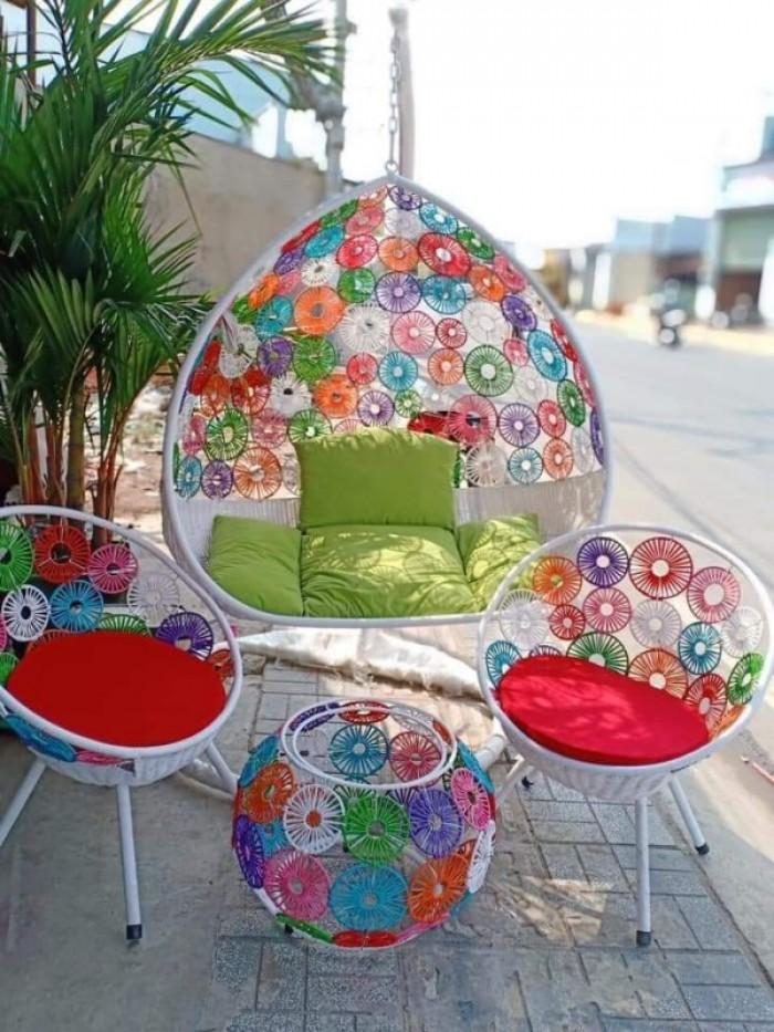 Combo xích đu và bàn ghế cùng màu mẫu giá tại nơi sản xuất3