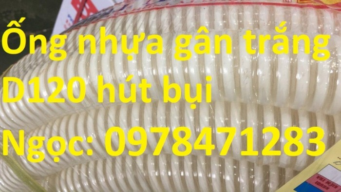 Ống gân nhựa trắng phi 100,phi 120,phi 150 hút hạt, hút bụi hàng sẵn giá rẻ0