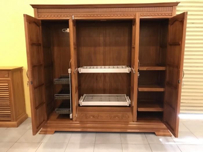 Tủ áo thông minh gỗ gõ đỏ cao cấp 3 buồng 4 cánh tại Quận 70