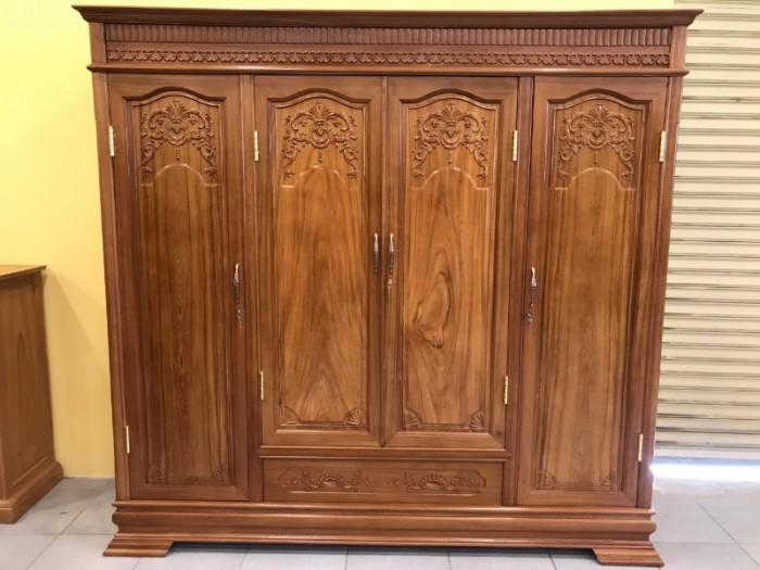Tủ áo thông minh gỗ gõ đỏ cao cấp 3 buồng 4 cánh tại Quận 73
