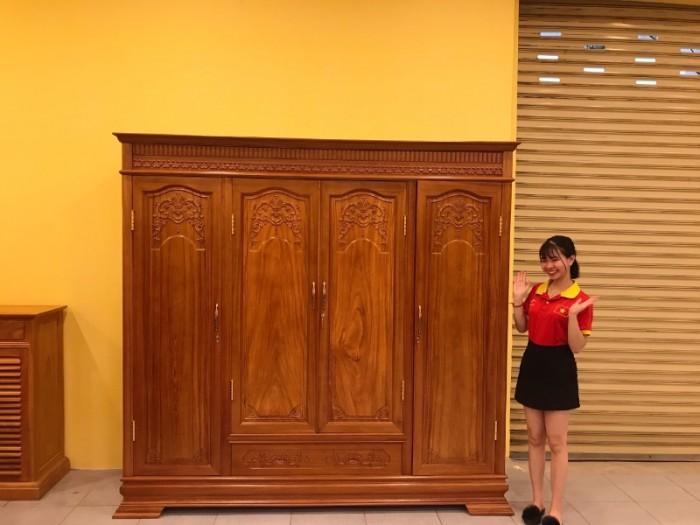 Tủ áo thông minh gỗ gõ đỏ cao cấp 3 buồng 4 cánh tại Quận 71