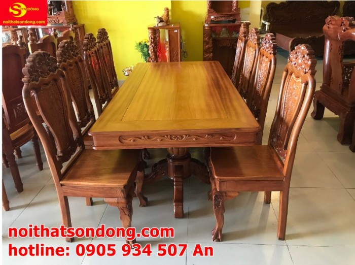 Bộ bàn ăn 8 ghế gỗ tự nhiên cao cấp giá tốt tại quận 70