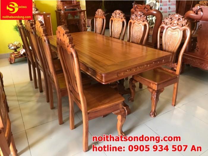Bộ bàn ăn 8 ghế gỗ tự nhiên cao cấp giá tốt tại quận 73