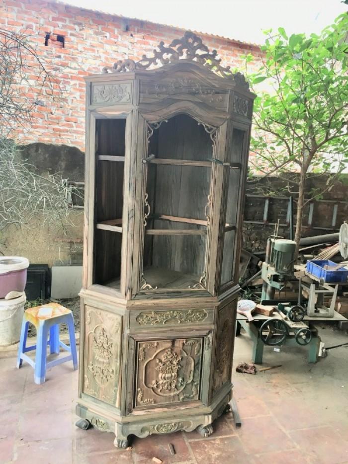 Tủ Rượu Góc Gỗ Mun Lào
