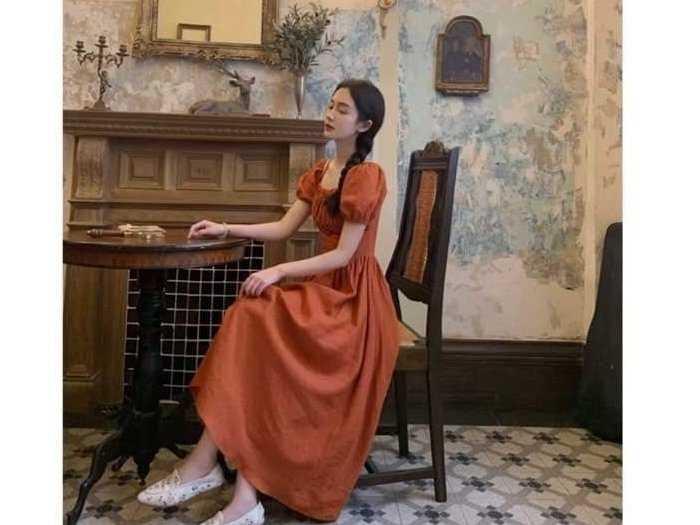 Đầm váy nữ cam tay phồng xòe1