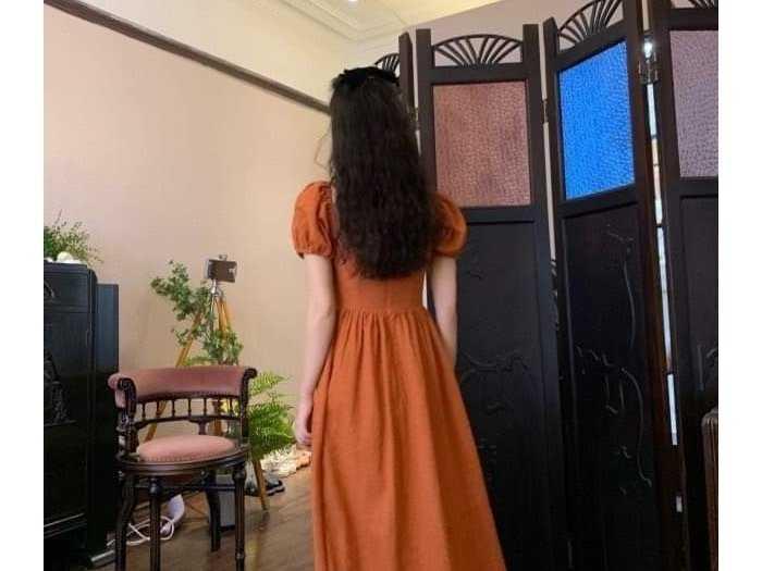 Đầm váy nữ cam tay phồng xòe2