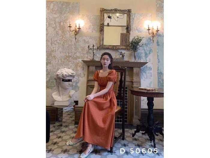 Đầm váy nữ cam tay phồng xòe3
