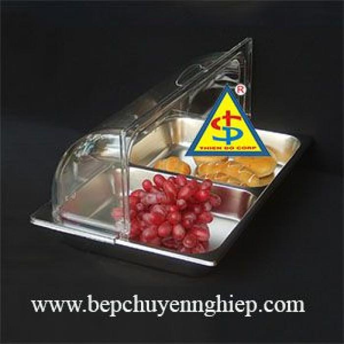 Nắp mika và khay inox mở 1/2 chuyên phục vụ buffet; tiệc trà; bánh ngọt trái cây...1