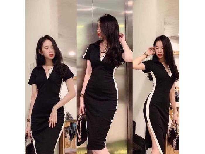 Đầm váy nữ body đen viền trắng xẻ tà0