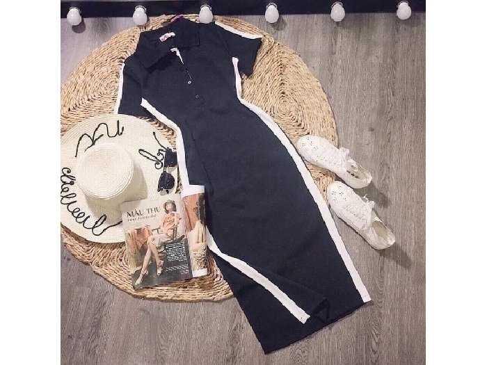 Đầm váy nữ body đen viền trắng xẻ tà4