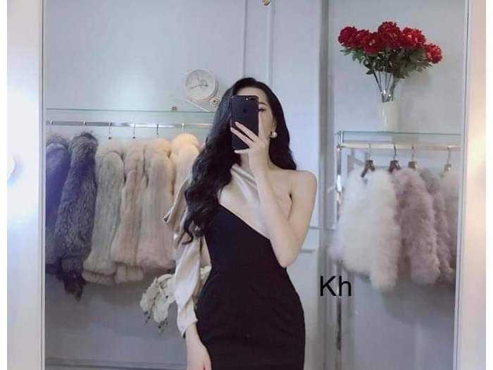 Đầm váy nữ đen body 1 vai phối nude1