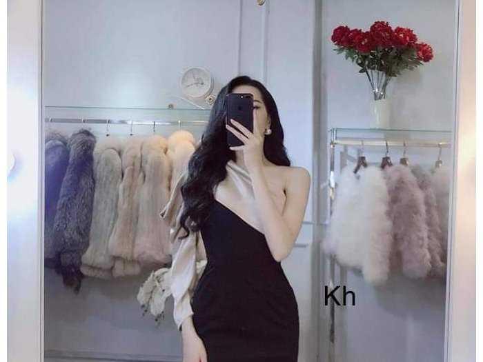 Đầm váy nữ đen body 1 vai phối nude2