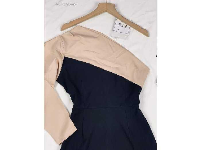 Đầm váy nữ đen body 1 vai phối nude3
