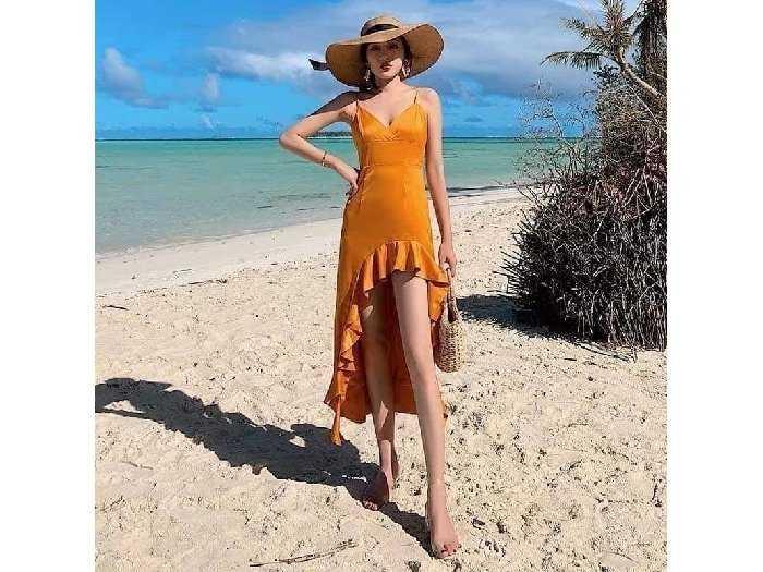 Đầm váy nữ 2 dây vàng đuôi cá tôn dáng0