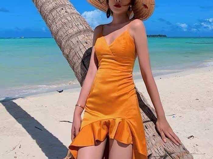 Đầm váy nữ 2 dây vàng đuôi cá tôn dáng1