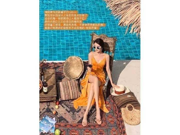 Đầm váy nữ 2 dây vàng đuôi cá tôn dáng2