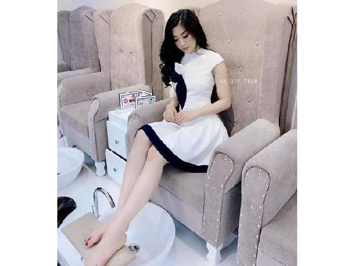Đầm váy nữ xòe phối nơ hoa viền đen2