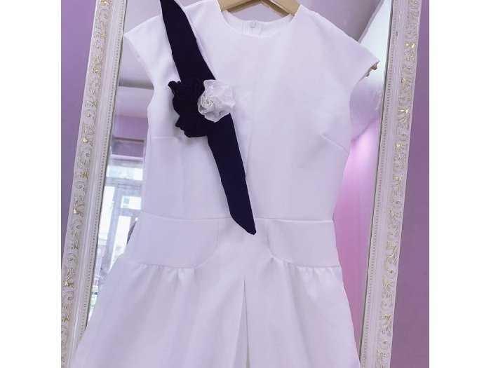 Đầm váy nữ xòe phối nơ hoa viền đen4