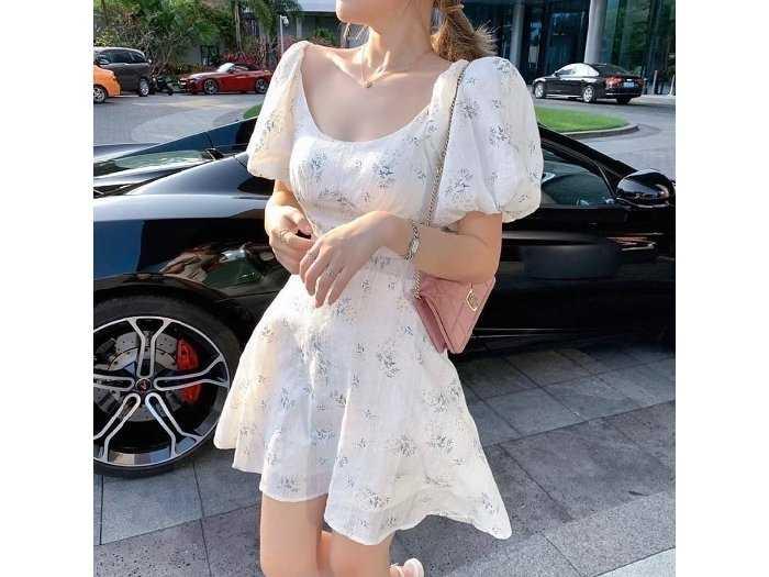 Đầm váy nữ trắng xô thêu hoa xanh phồng0