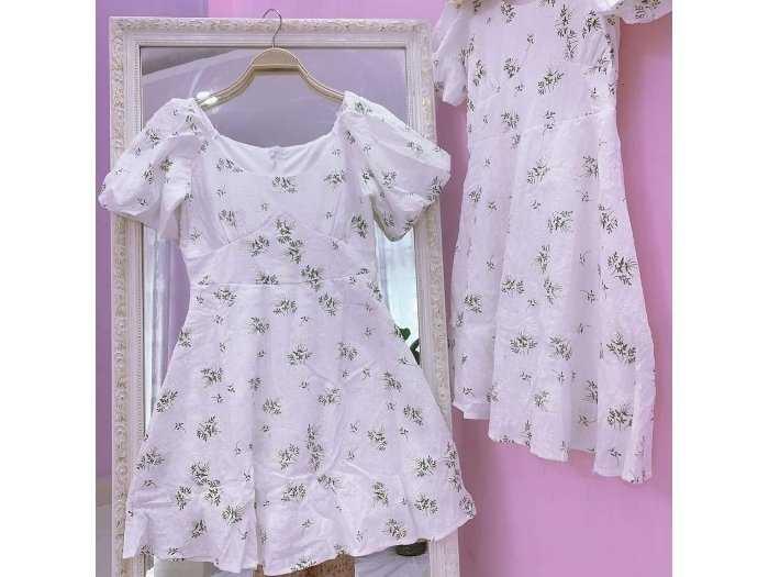 Đầm váy nữ trắng xô thêu hoa xanh phồng3