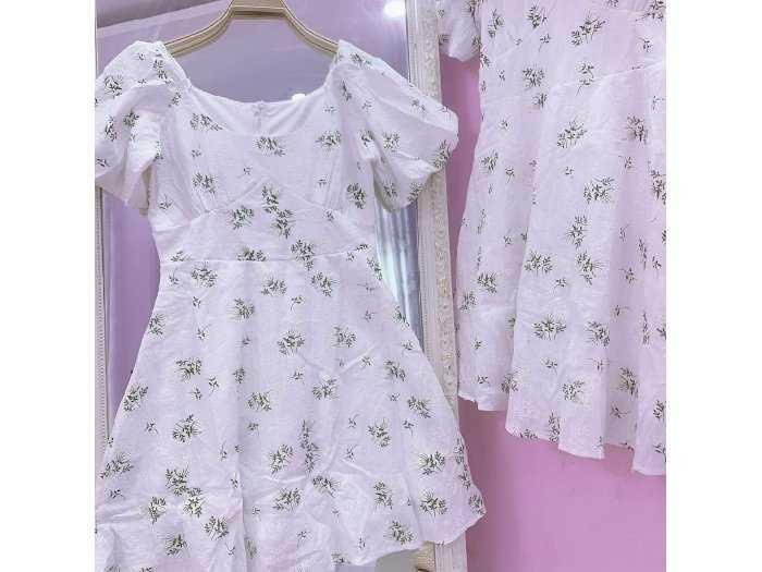 Đầm váy nữ trắng xô thêu hoa xanh phồng4